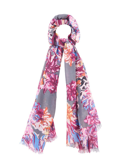 Floral Print Oblong Scarf, Red, hi-res