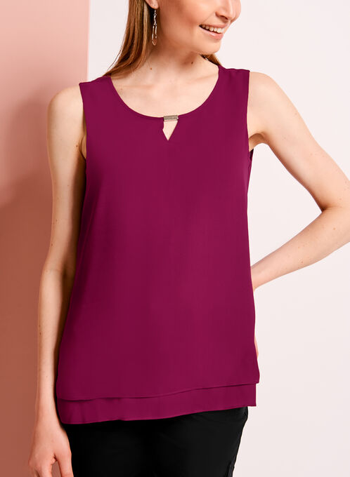 Double Layer Keyhole Neck Blouse, Red, hi-res