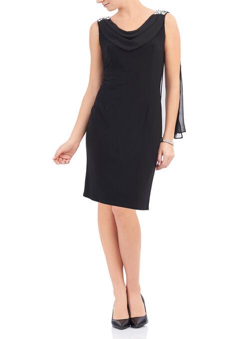 Draped Beaded Shoulder Dress, Black, hi-res