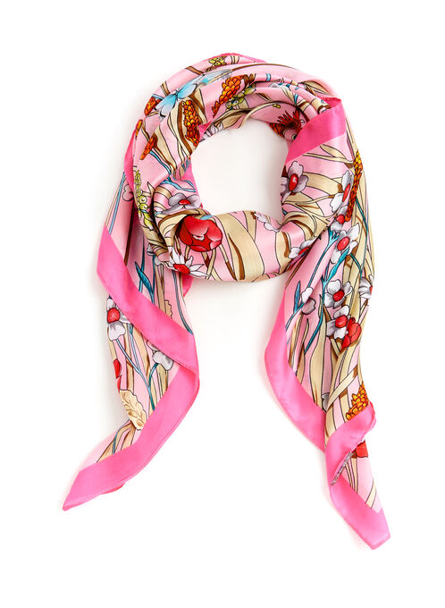Floral & Butterfly Print Scarf, Pink, hi-res