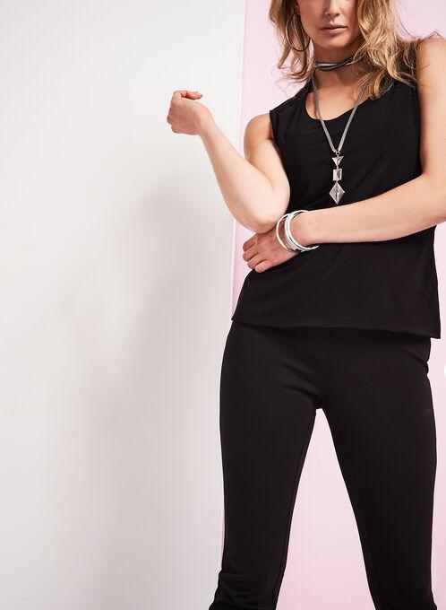 Sleeveless Knit Tank Top, Black, hi-res