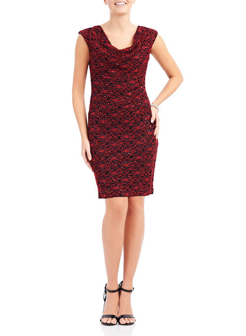 Sequined Lace Cowl Neck Dress, Black, hi-res