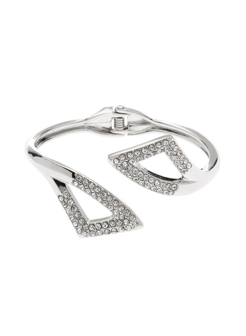 Crystal Embellished Cutout Bangle, Silver, hi-res