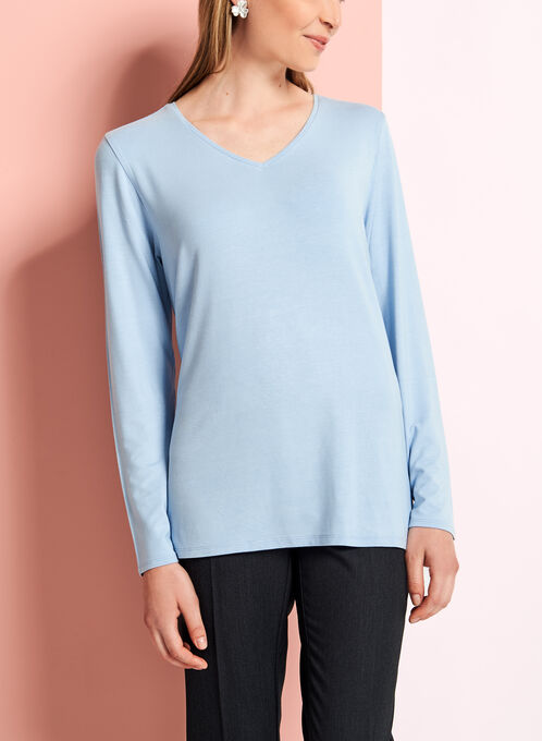 Long Sleeve V-Neck Top, Blue, hi-res