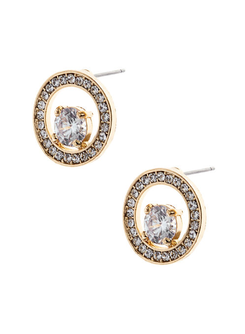 Round Crystal Earrings , Gold, hi-res
