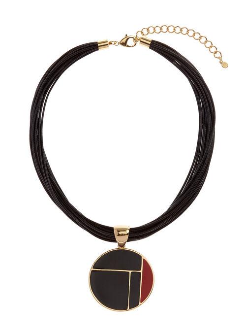 Colour Block Pendant Necklace, Red, hi-res