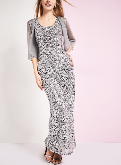 Sequin Gown with Chiffon Bolero, Silver, hi-res