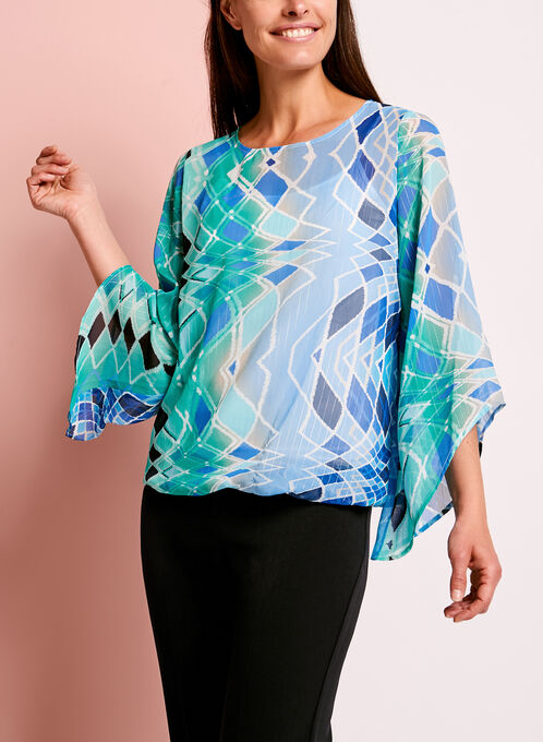 Angel Sleeve Graphic Print Blouse, Blue, hi-res