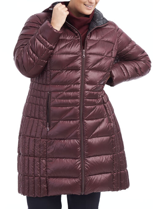 Bernardo Packable Down Blend Jacket, Purple, hi-res