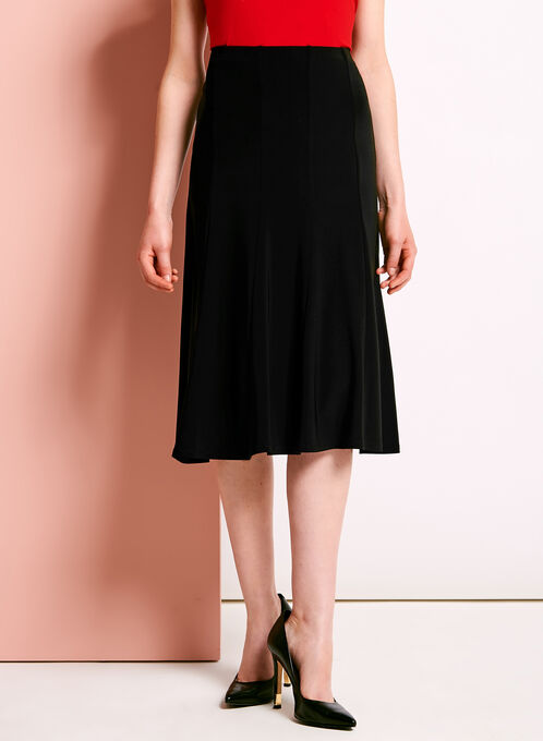 Gored Midi A-Line Skirt, Black, hi-res