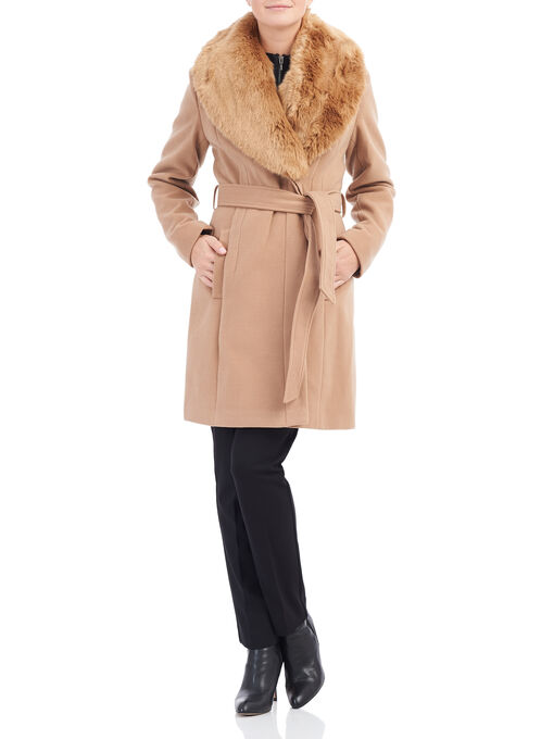 Wool-Like Faux Fur Coat, Brown, hi-res