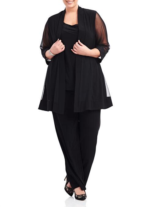 Glitter Detail Pantsuit , Black, hi-res