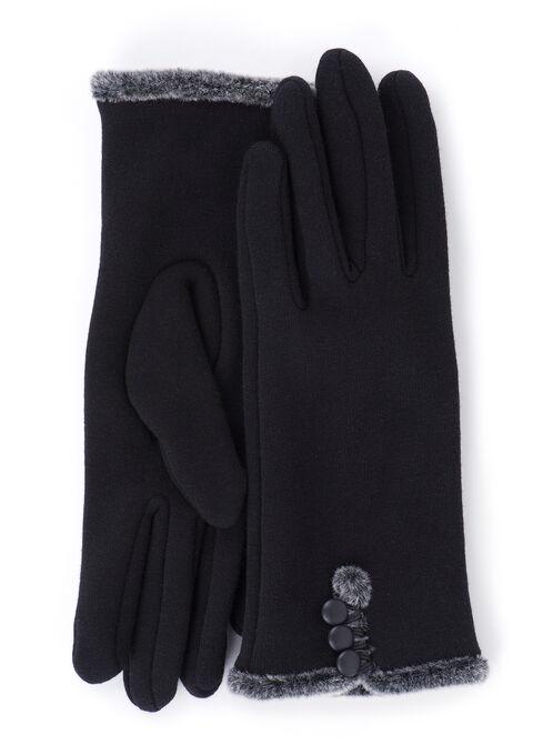 Plush Trim Gloves , Black, hi-res