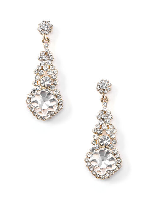 Crystal Chandelier Earrings , Gold, hi-res