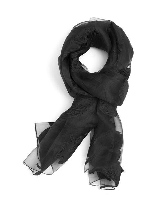 Oblong Floral Appliqué Wrap , Black, hi-res
