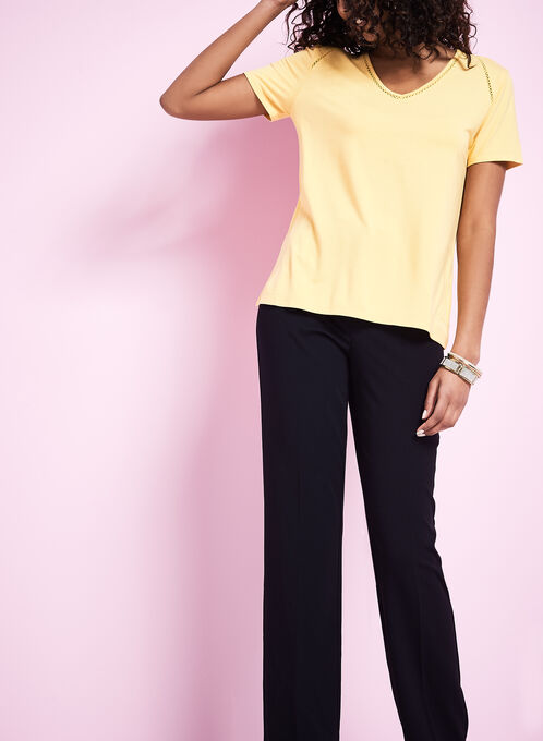 Short Sleeve V-Neck T-Shirt, Yellow, hi-res