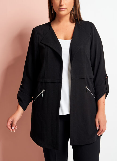 Open Front Zipper Trim Crepe Jacket, Black, hi-res