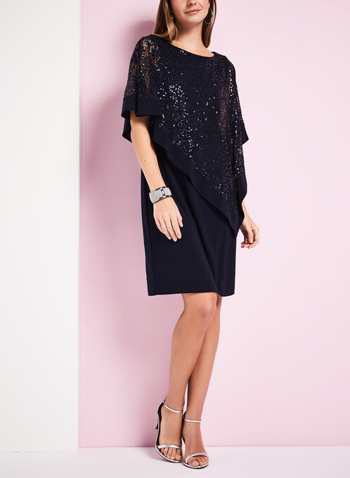 Sequin & Jersey Poncho Dress, Blue, hi-res