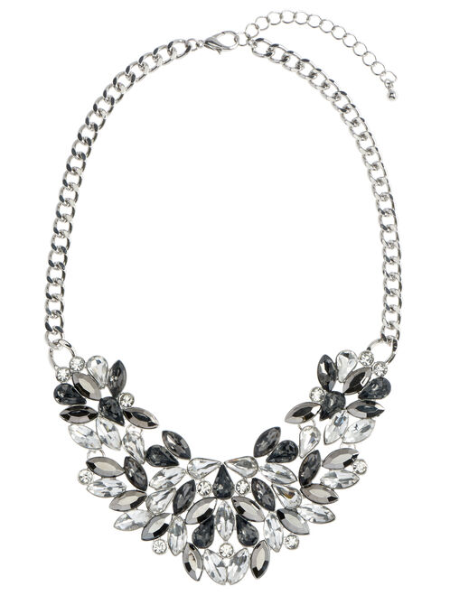 Crystal Stone Cluster Necklace, Grey, hi-res
