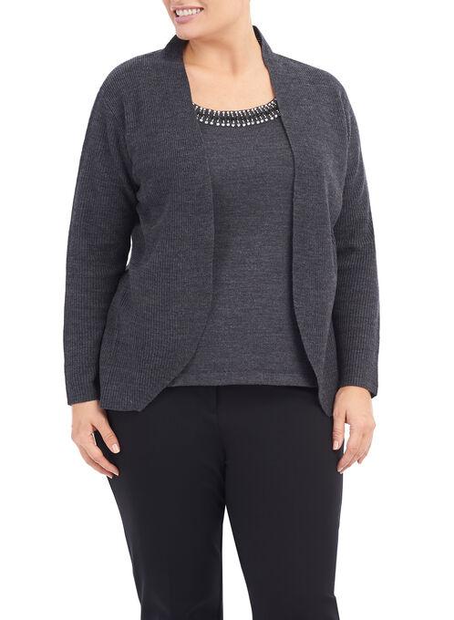 Beaded Fooler Sweater, Grey, hi-res