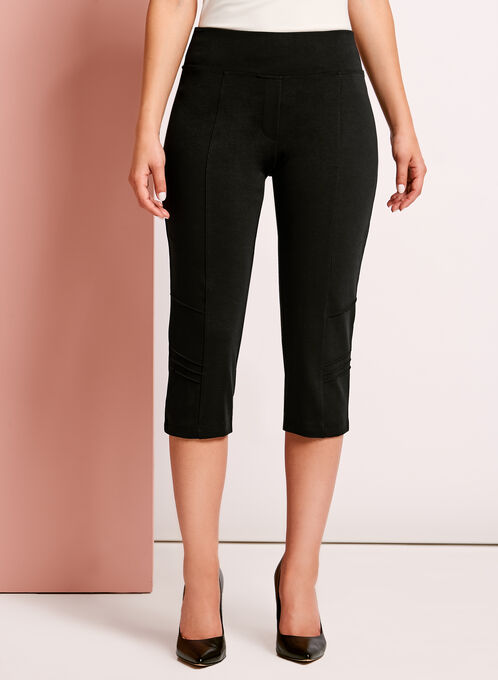 Picadilly Pull-On Capri Pants, Black, hi-res