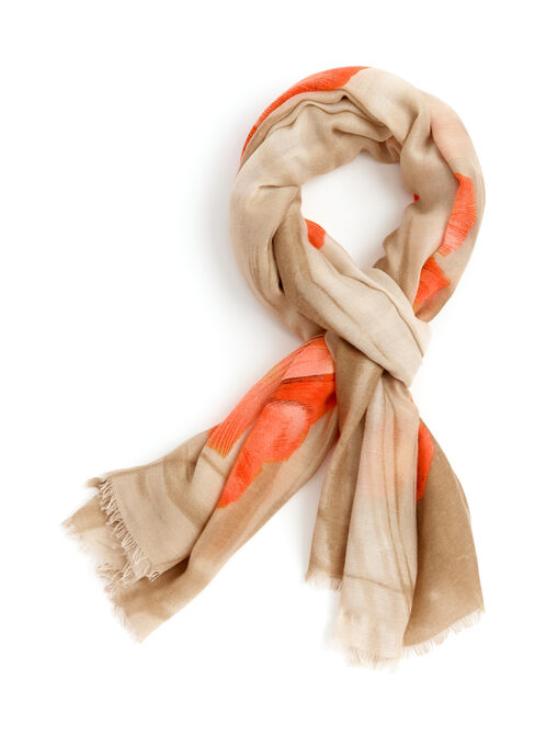 Poppy Print Fringed Scarf, Orange, hi-res