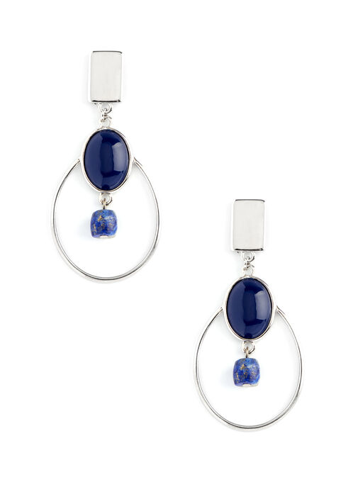Geometric Hoop & Stone Earrings, Blue, hi-res