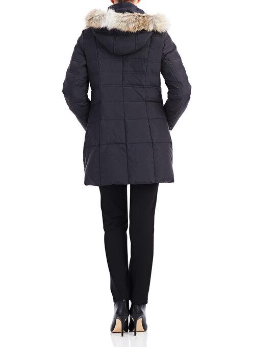 Novelti Box Quilt Down Coat, Black, hi-res