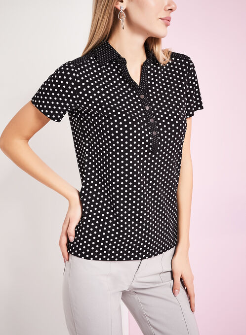 Dot Print Polo Shirt, Black, hi-res