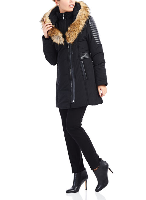 Faux Fur Polyfill Coat , Black, hi-res