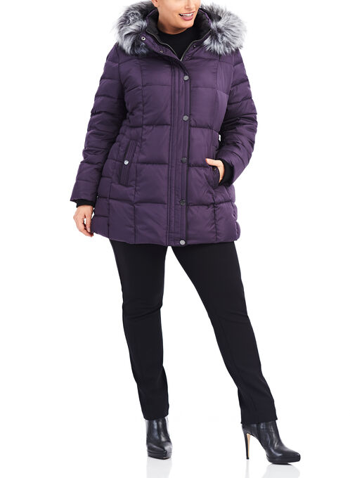 Novelti Faux Fur Down Jacket , Purple, hi-res