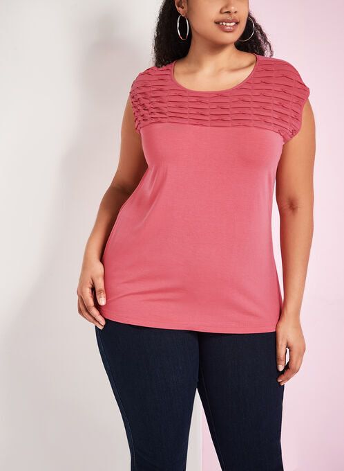 Sleeveless Textured Chiffon Top , Pink, hi-res