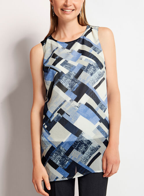 Sleeveless Geometric Print Tunic Top, Blue, hi-res