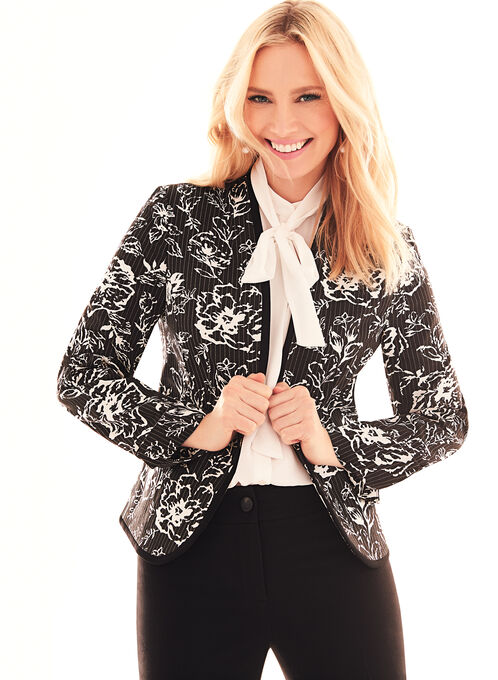 Floral Print Open Front Jacket , Black, hi-res