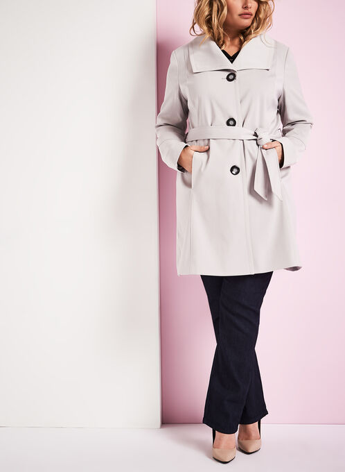 Nuage Single Breasted Trench Coat, Silver, hi-res