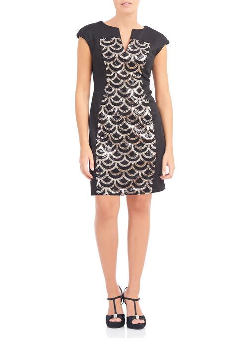 Split V-Neck Sequin Dress, Black, hi-res