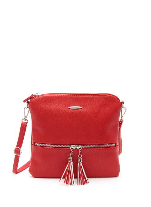 Tassel Trim Crossbody Bag, Red, hi-res