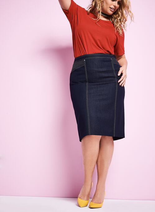 Denim Pencil Skirt , Blue, hi-res