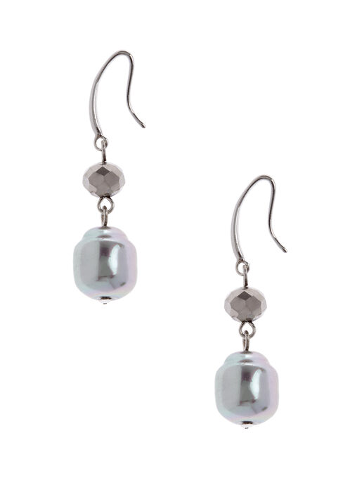 Metallic Bead Dangle Earrings , Grey, hi-res