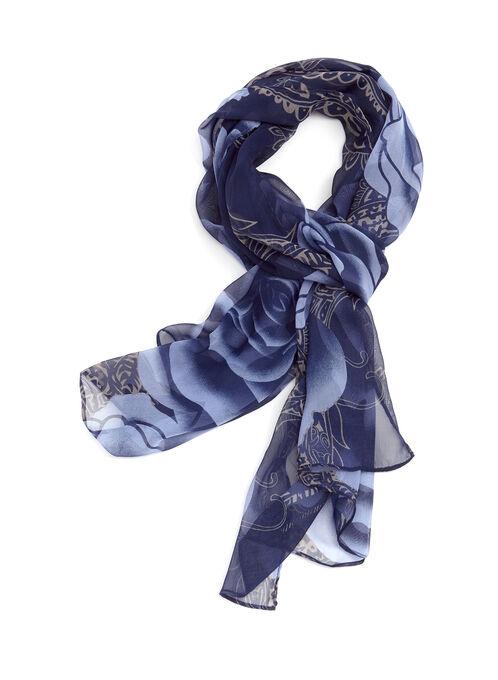Rose Print Oblong Scarf, Blue, hi-res