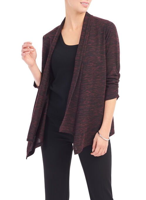 3/4 Sleeve Asymmetrical Cardigan, Red, hi-res