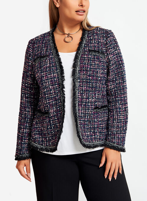 Fringe Trim Tweed Jacket, Blue, hi-res