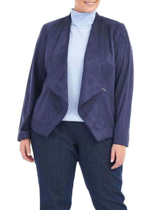 Long Sleeve Flowy Blazer , Blue, hi-res