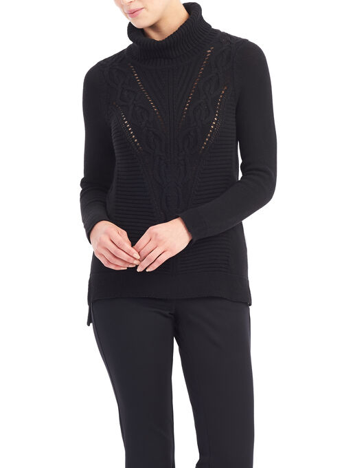 Mitered Cable Sweater, Black, hi-res
