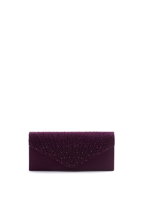 Satin Envelope Evening Clutch , Purple, hi-res