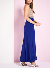 Beaded Mesh Halter Dress, Blue, hi-res