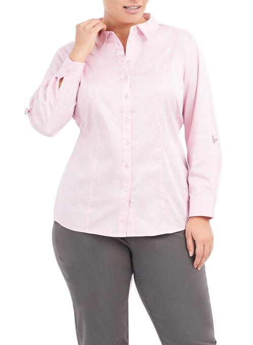 3/4 Sleeve Cotton Shirt, Pink, hi-res