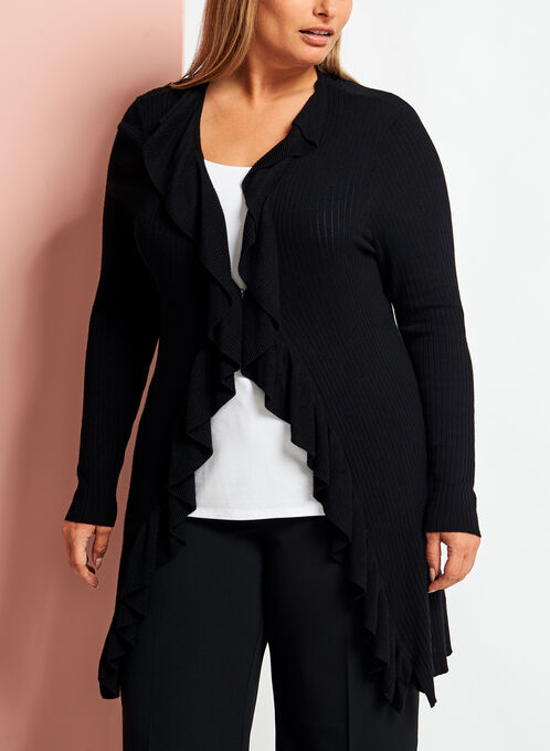Ruffle Trim Open Front Cardigan, Black, hi-res