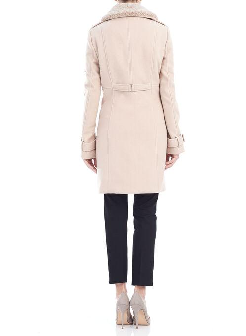 Wool-Like Faux Fur Coat, Off White, hi-res
