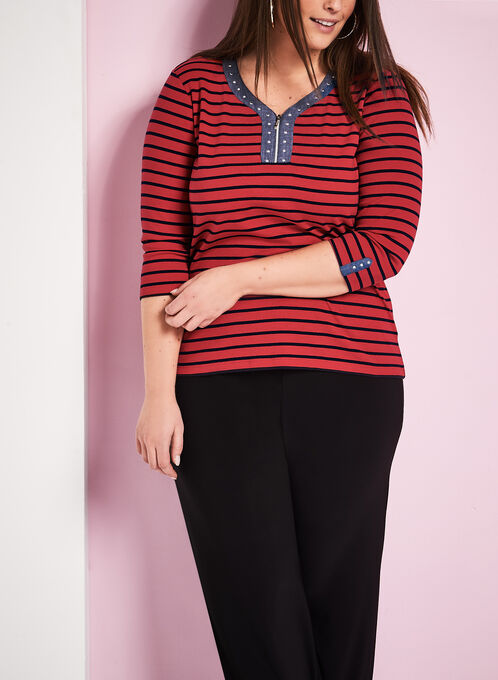3/4 Sleeve Stripe Print Top , Red, hi-res